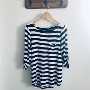 Cable & Gauge 3/4 Sleeved Striped Top